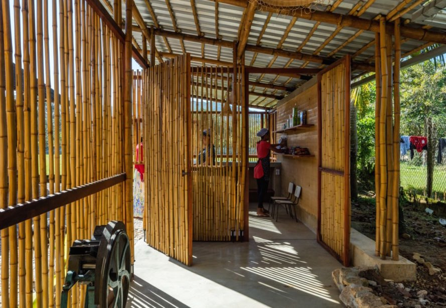 interior of bamboo community center filled with plenty of natural light