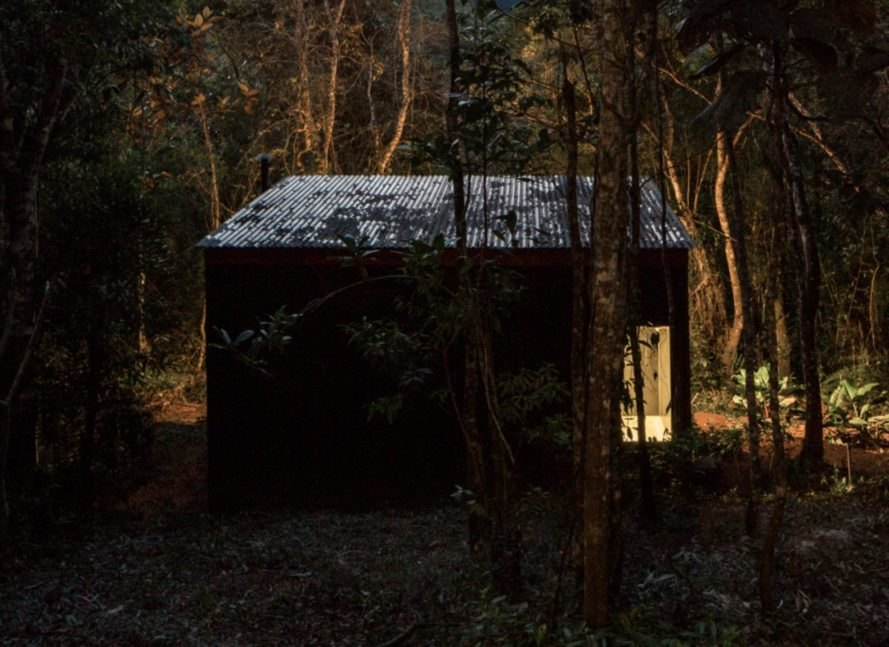 black cabin in a forest at night