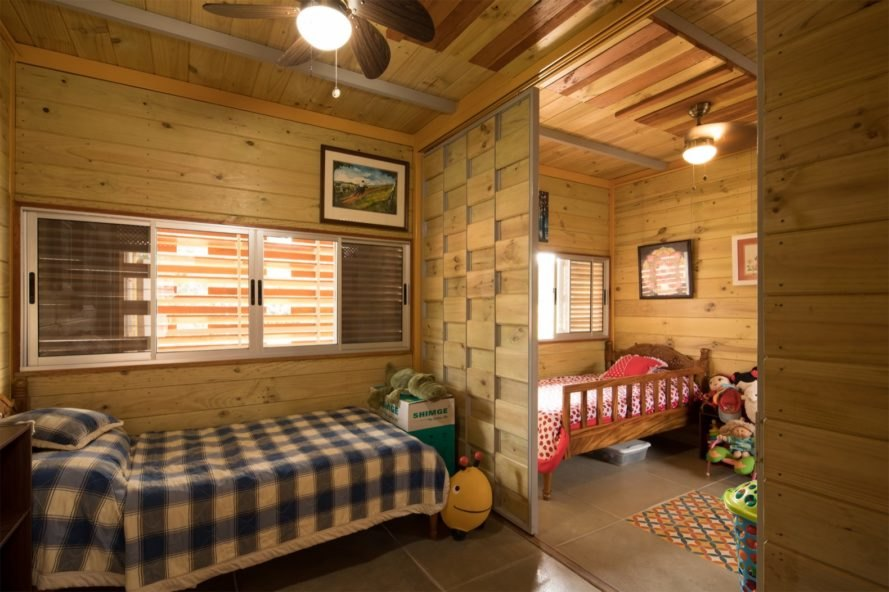 children bedrooms with timber room divider