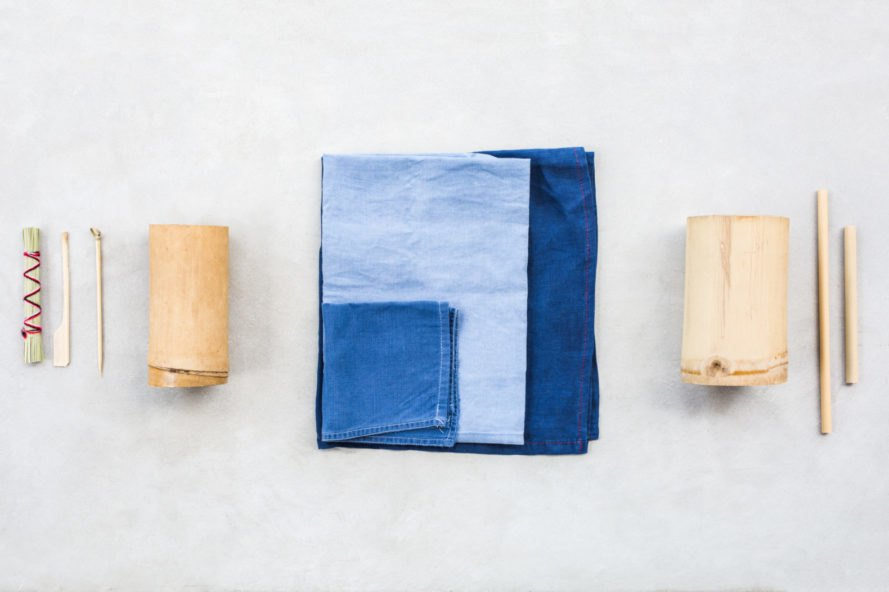 scraps of blue jeans and wood