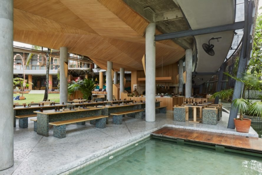 open air restaurant with rows of tables