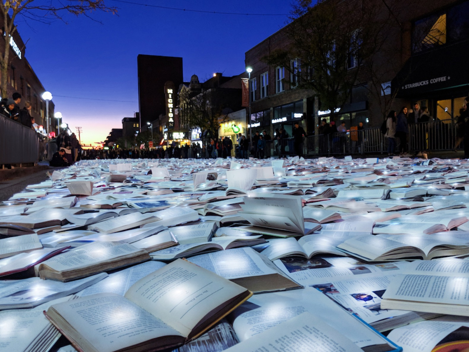 A glowing river of books creates a traffic-free haven in Ann Arbor
