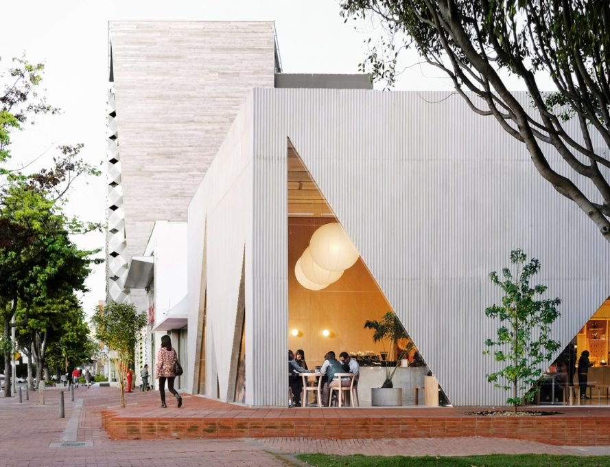 white restaurant with large triangle windows