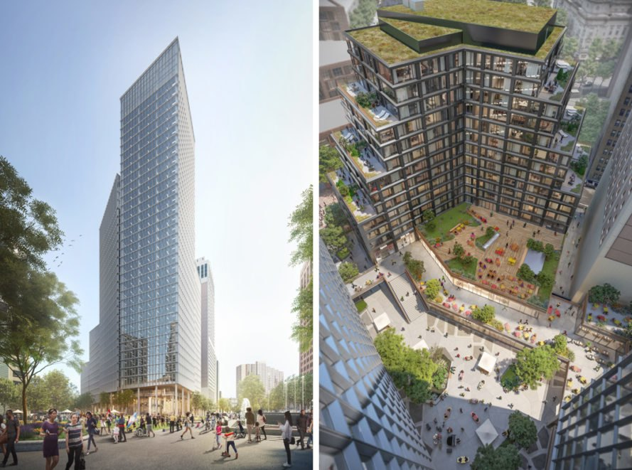 On the left, high-rise tower rendering. On the right, aerial view of courtyard outside high-rise towers.