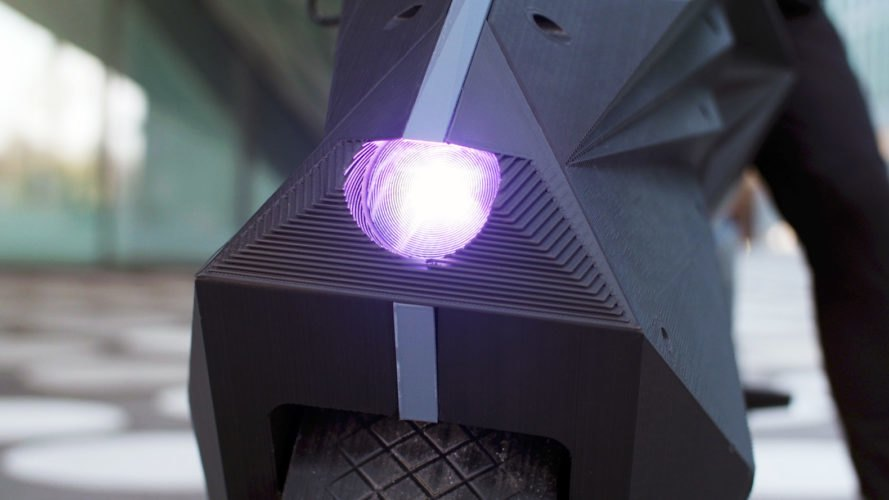 purple front light of e-motorcycle
