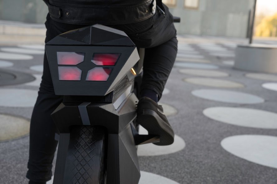 red back lights of black e-motorcycle