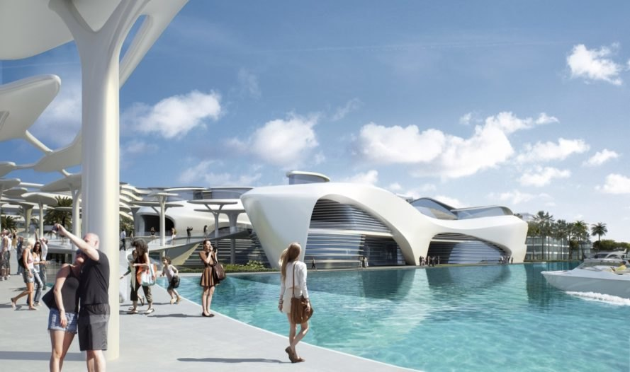 tourists enjoying the sights of the futuristic modern white building with boats nearby