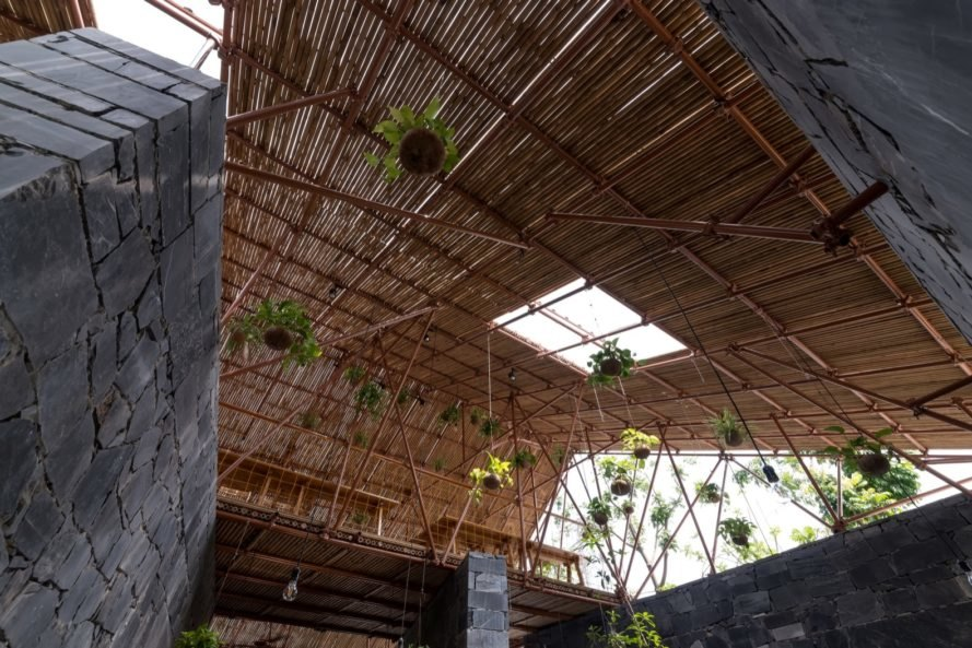 pipes and bamboo sticks make the roof and ceiling of the hub