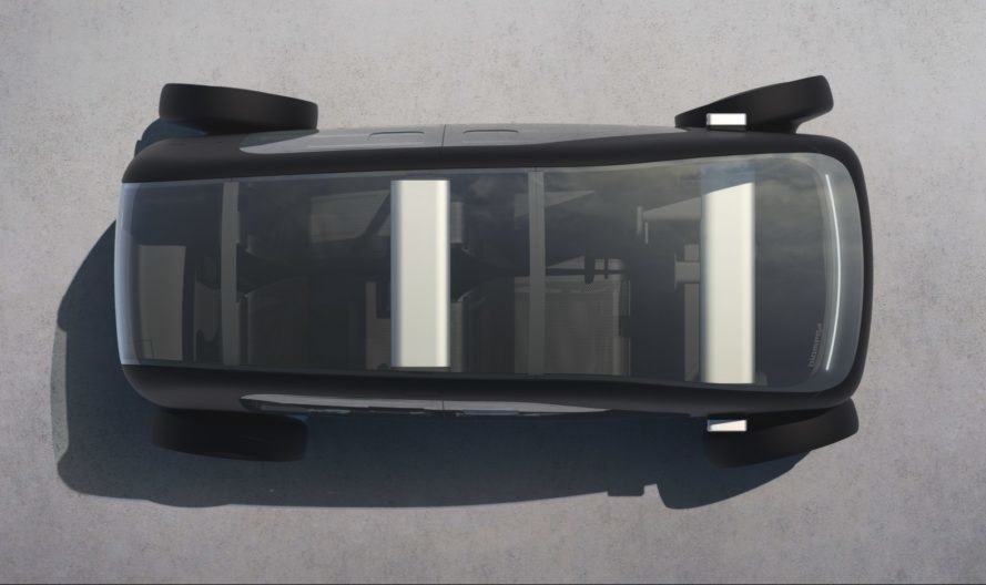 aerial view of electric car with transparent roof