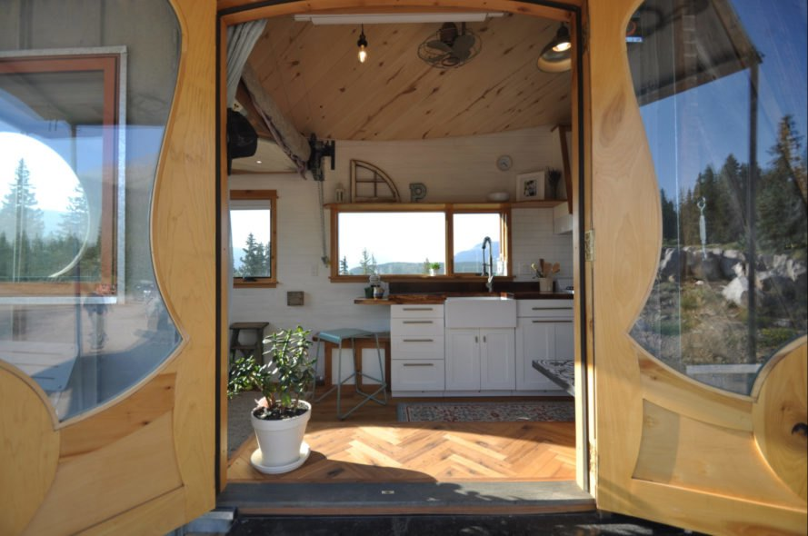 large entranceway of tiny home