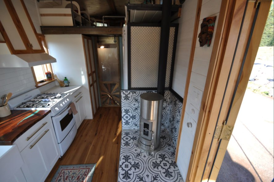 tiny home kitchen with chimney