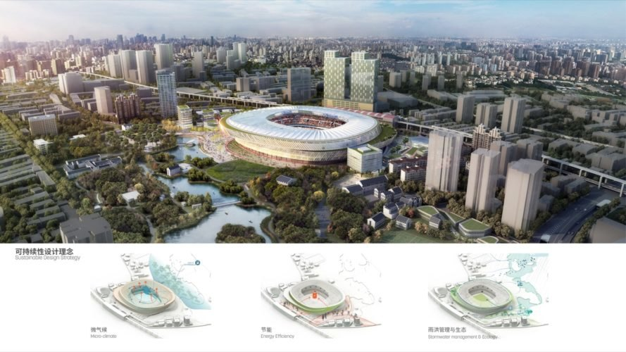 rendering of the stadium surrounded by city buildings