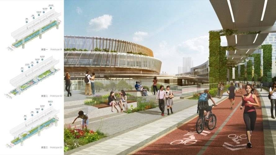 rendering of the outside garden and bike path