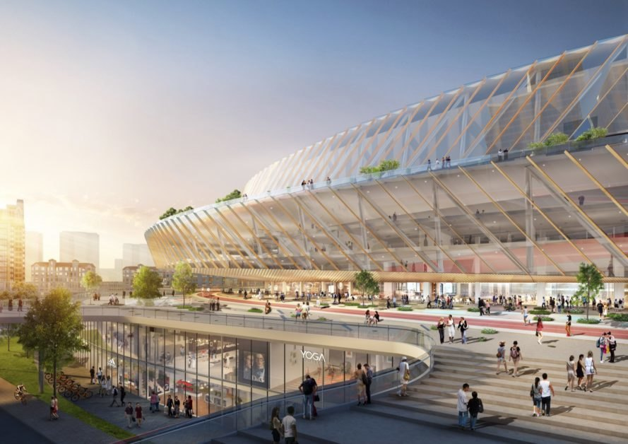 rendering of the outside of the stadium with visible store and restaurants underneath