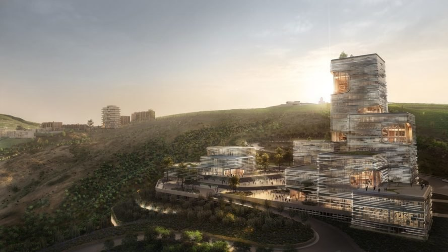 rendering of tower with green roof on a hill