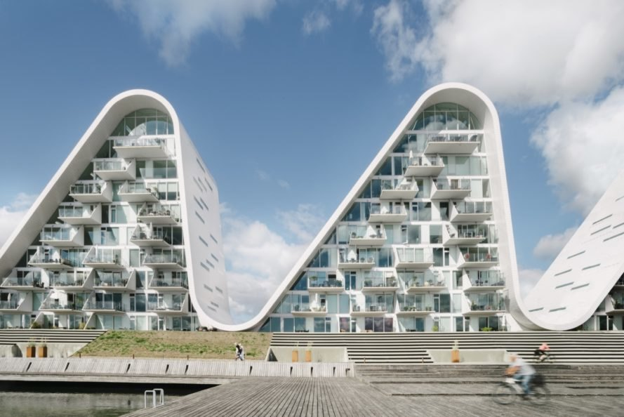 curving, wave-shaped towers