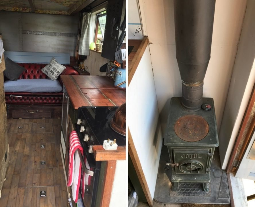 interior of tiny home on wheels with chimeny and kitchen