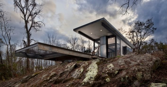 Get away from it all in this off-grid concrete cabin just steps