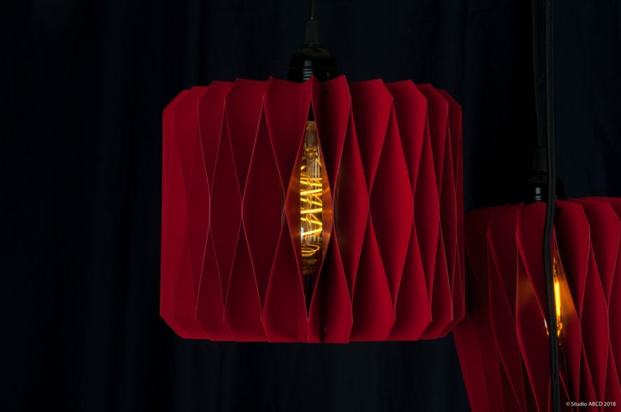 red paper lantern on black background