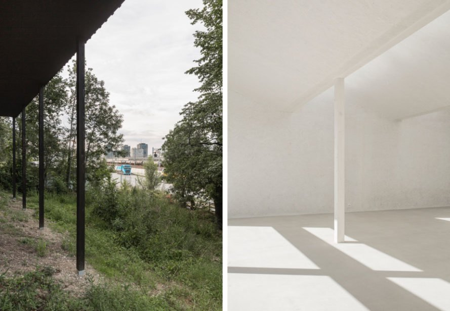 On the left, home surrounded by greenery. On the right, an empty white room.