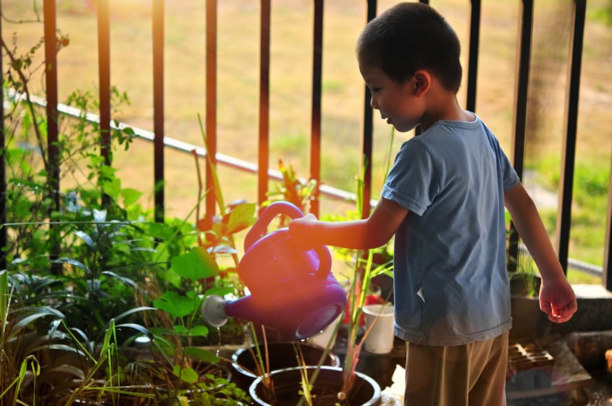 child watering plants in a garden