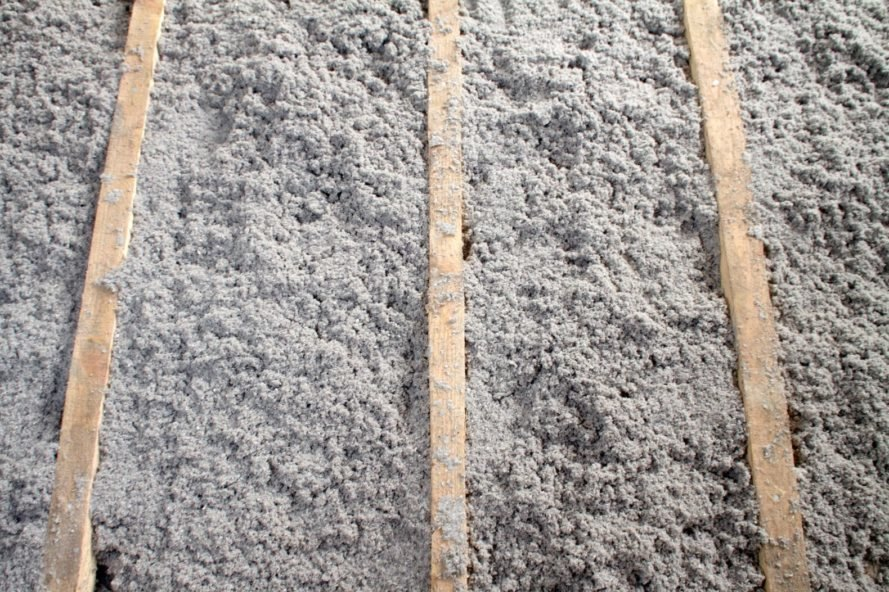 gray cellulose insulation in a wall