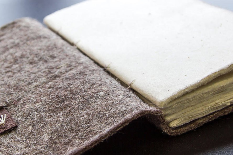 close-up of felt-covered journal