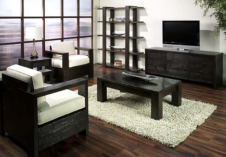 dark wood chairs, coffee table, bookcase and TV stand