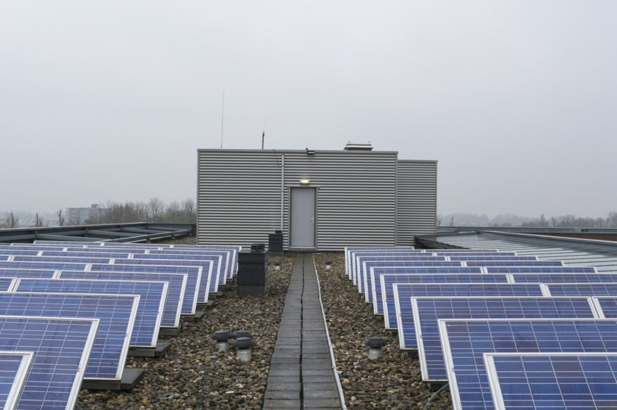 solar panels and battery storage unit