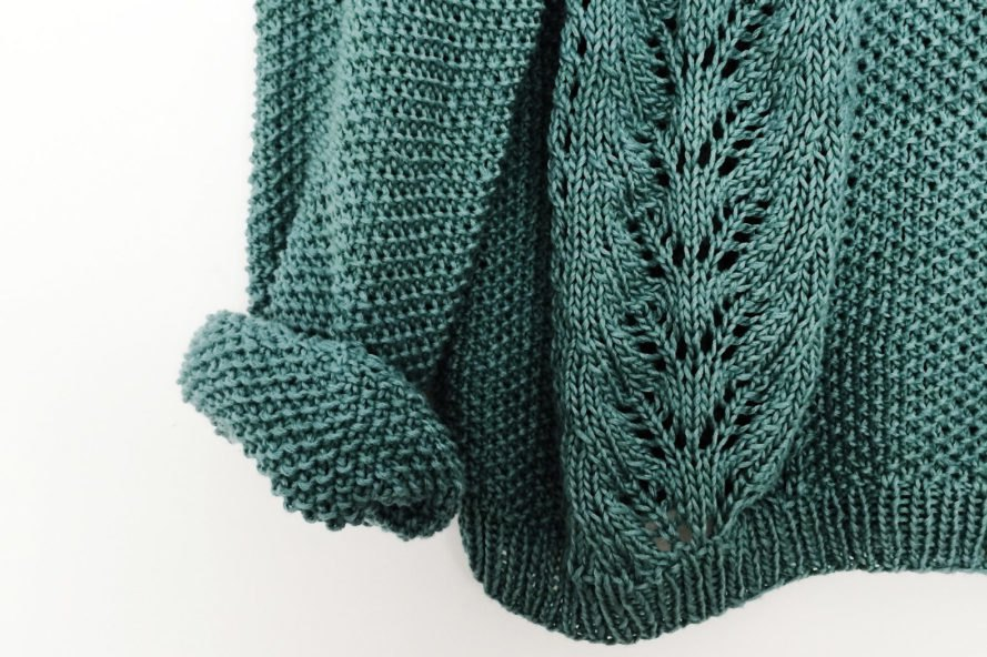 close-up of teal knit sweater
