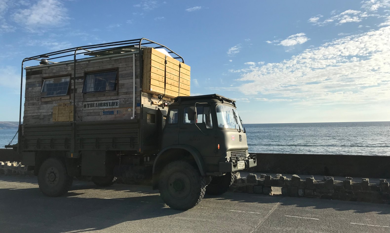 Couple transform old army truck into 72-square-foot off-grid home on wheels
