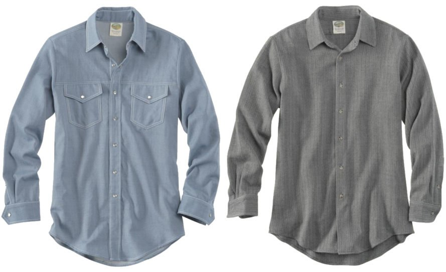 a blue wool shirt and a gray wool shirt on a white background