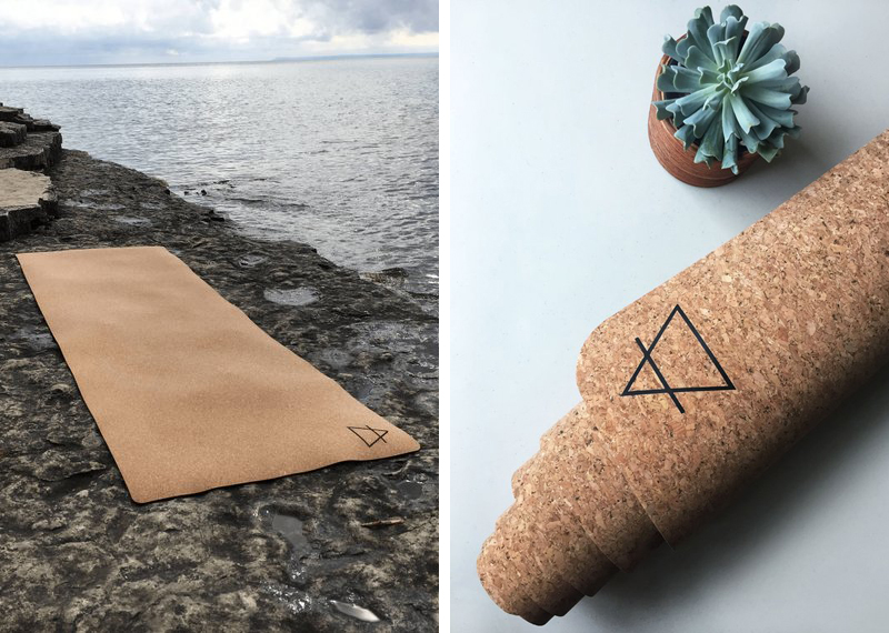 Cork yoga mat by the beach and near a plant