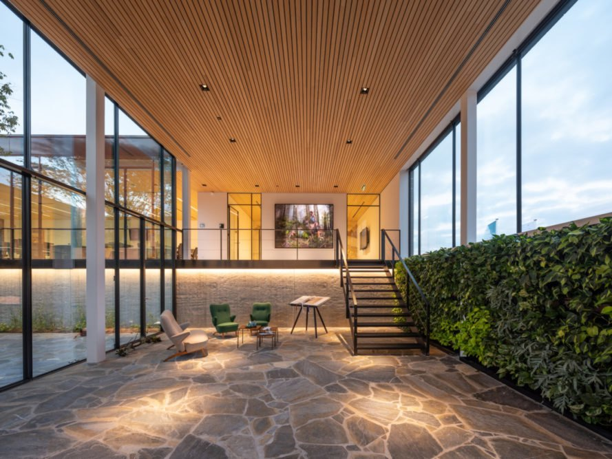 interior office space with natural stone flooring