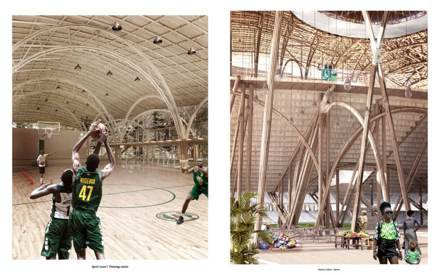 renderings of people playing basketball and walking around inside a bamboo stadium