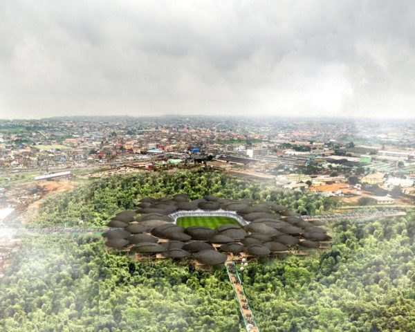 rendering of bamboo forest around a stadium