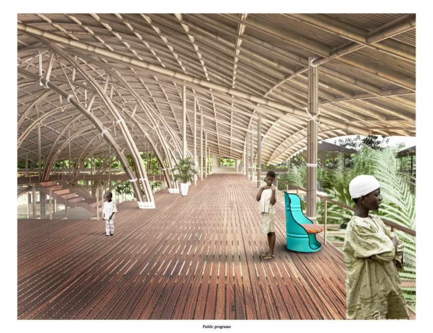 rendering of people inside a bamboo structure