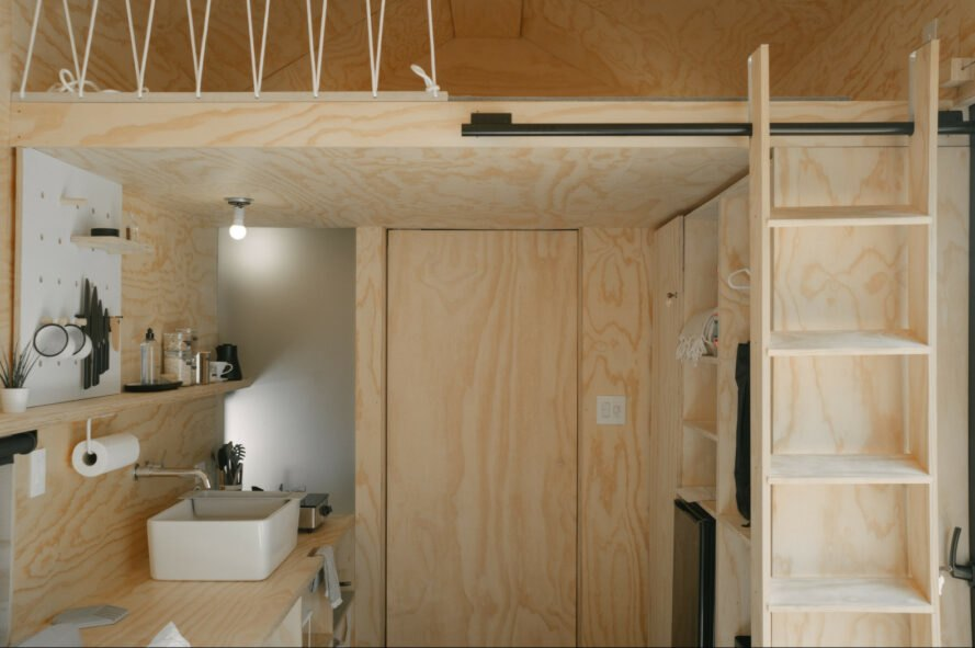 wood-clad interior of tiny cabin