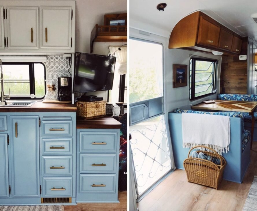 kitchen space with blue cabinets inside renovated RV