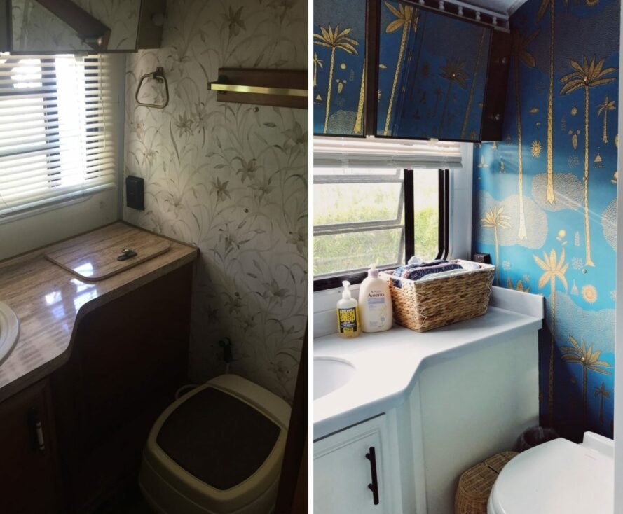 dark before picture of old RV bathroom next to bright after picture of modern bathroom