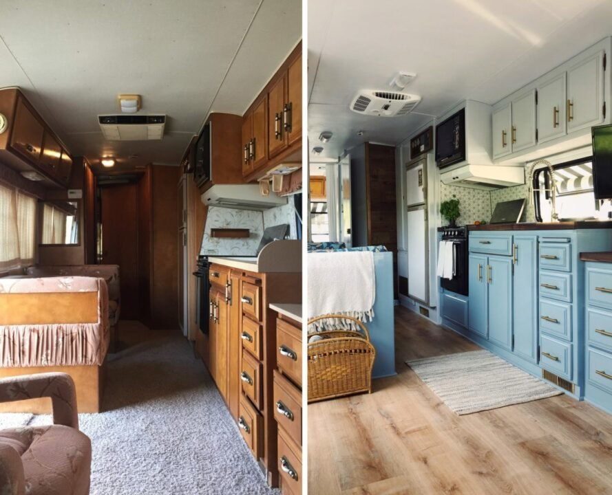 before and after of old rundown RV interior into bright living area with pops of blue design