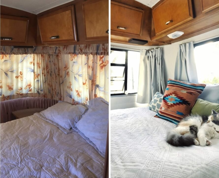 before and after shots of RV bedroom renovation