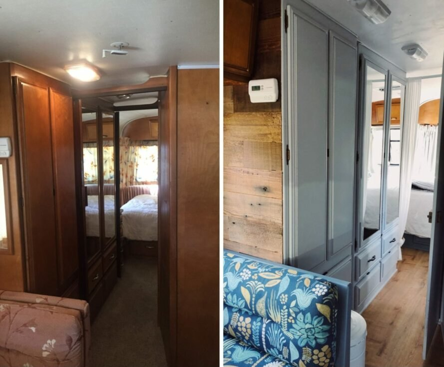 before and after shots of renovated RV interior from dark to bright with pops of blue decor