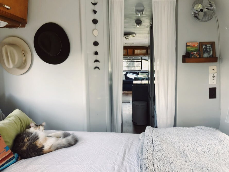 bedroom with cat on top of bed