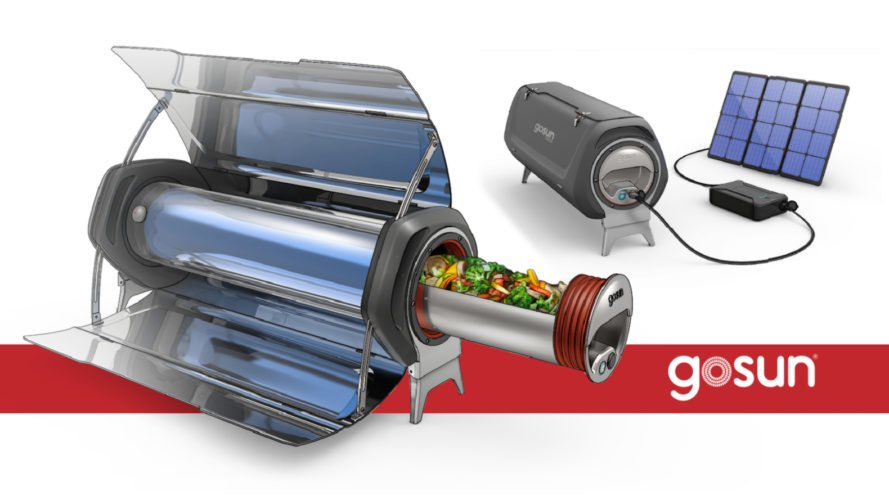 metal solar cooker with tube filled with food