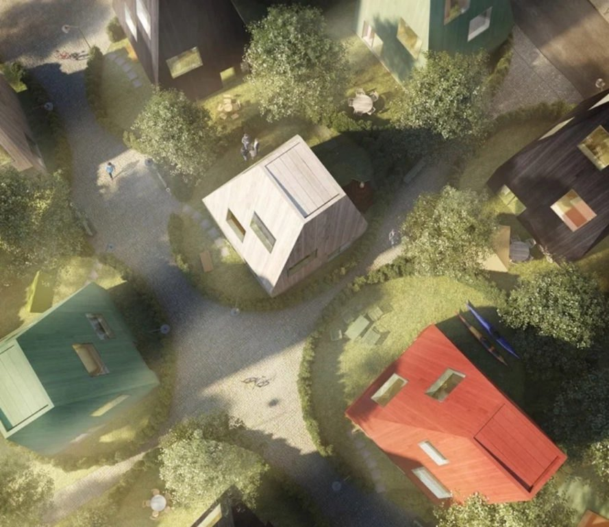 mock-up of areal view of the row timber homes