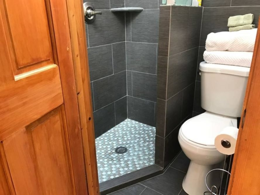 A grey bathroom with shower and toilet