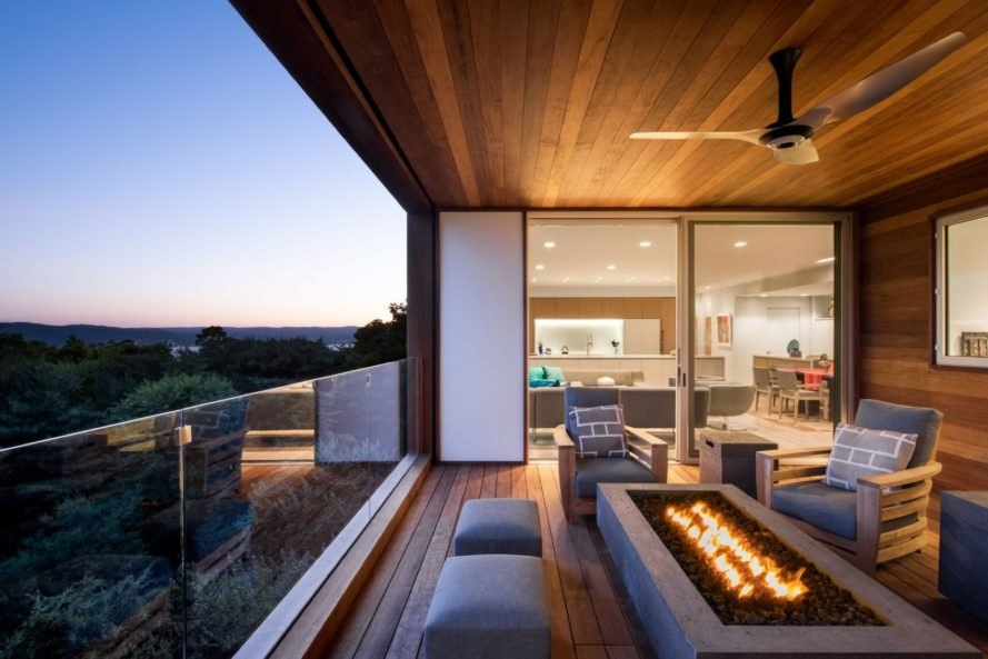 covered outdoor patio with modern firepit