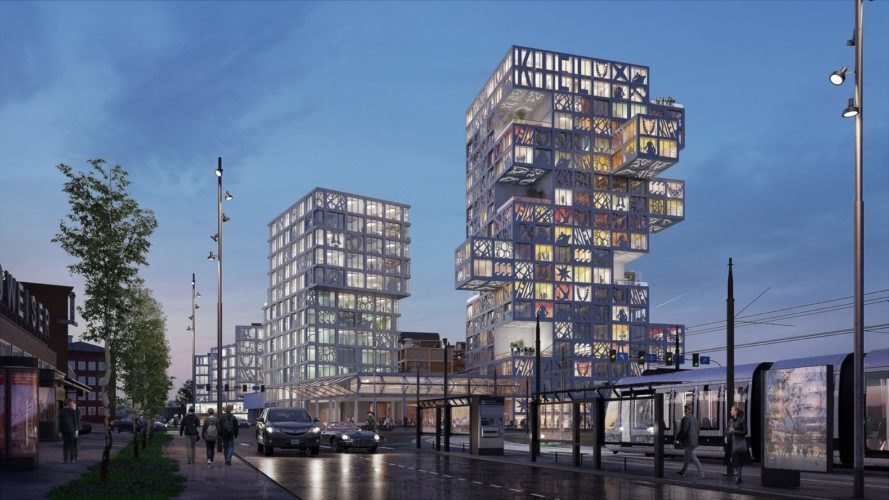 cantilevering towers at dusk