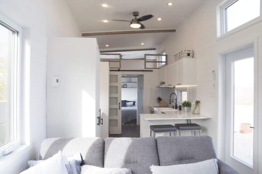 all-white interior living space